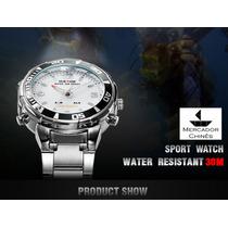 Relógio Weide Branco Estilo Mergulhador Pulseira De Aço