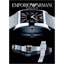Relógio Emporio Armani Ar2012 Slim Prata/ Preto Frete Gratis