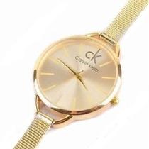 Relógio Feminino De Pulso Caixa Redonda Dourado Prata Ck