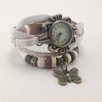 Relógio Bracelete De Couro - Borboleta - Branco