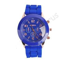 Relógio Feminino Luxo De Pulso Azul C/ Pulseira De Silicone