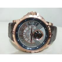 Relógio Luxo Automático Safira Couro Tur Billon Roger Dubbis