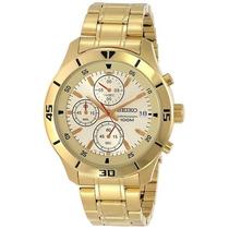 Relógio Seiko Masculino Sks404p1 Cronografo Dourado
