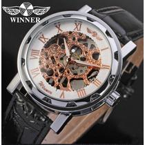Relógio Pulso Winner Esqueleto Movimento Mecânico - Luxo