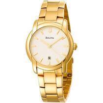 Relógio Bulova Slim 97b107 Classico Masculino Dourado