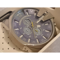 Relógio Luxo Dle-sel 52mm Prata/azul Couro Caixa Manual
