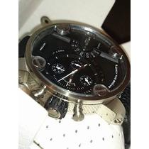 Relógio Luxo Dle-sel 62mm Prata/pretol Couro Caixa Manual