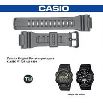 Pulseira P/ Casio Aq-s810 W-735 Preto Borracha Original