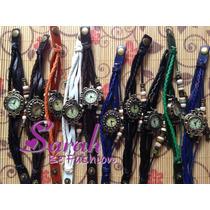 Relógio Com Pulseira De Couro Vintage Com Pingente Bracelete