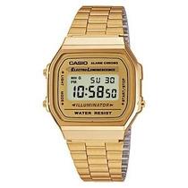 Relógio Casio A168 Dourado Retrô Vintage Alarme Cronômetro