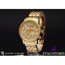 Relógio Michael Kors Mk5676 Dourado Com Cristal Frete Grátis