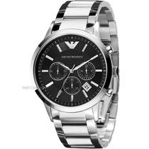 Relógio Emporio Armani Ar2434 Prata Preto Na Caixa E Manual.