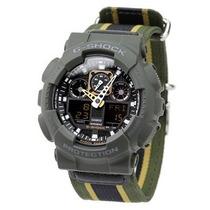 Relógio Casio G-shock Ga100mc 3a Tecido Verde-oliva Original