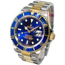 Relógio Submariner Blue A Pronta Entrega Fundo Azul 12x Ouro