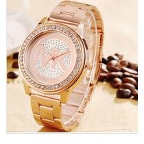 Relógio Michael Kors Mk Dourado Rose Strass Feminino