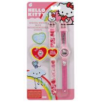 Relógio Pulso Digital Infantil Troca Pulseiras Hello Kitty