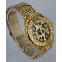 Relógio Importado Dourado Oncinha Pronta Entrega Fretegrátis