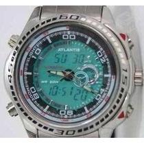 Relógio Masculino Aço Inox Com Visor Analógico E Digital