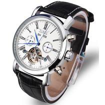 Relógio Branco Luxo Jaragar Automático Skeleton Turbilhão