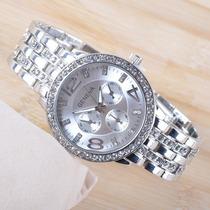 Relógio De Luxo Geneva Aço Inoxidavel Luxury Prateado