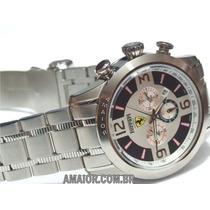 Relógio Ferrari Crono Prata Preto 46mm/50mm