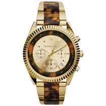 Relógio De Luxo Michael Kors Mk5963 Chron Anal Ouro Tortoise