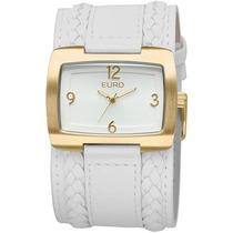 Relógio Feminino De Pulso Quadrado Branco Euro Eu2035rp2b