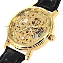 Relógio Semi Automático Masculino - Luxo - Skeleton Dourado