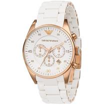 Relógio Emporio Armani Ar5919 Branco Dourado Pronta Entrega
