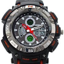 Relógio Sport Ohsen Impermeável Laranja Rubber