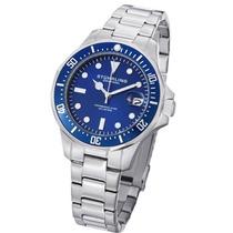 Relógio Stuhrling Original Aço Azul Quartzo Importado Novo
