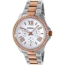 Relógio Feminino Fossil Am4496 Prata Rose Stras Novo Origina