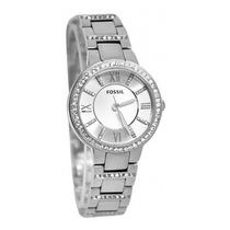 Relógio Feminino Fossil Es3282 Prata Strass Novo Original