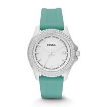 Relógio Feminino Fossil Am4463 Verde Strass Novo Original