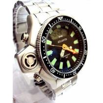 Relógio Atlantis Original A3220 Aqualand Modelo Retro Prata