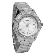 Relógio Feminino Fossil Am4452 Prata Strass Novo Original