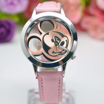 Relógio Mickey Minnie De Pulso Infantil Para Meninas Rosa