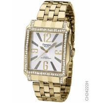 Relógio Feminino Dourado Champion Ch24222h Quadrado Original