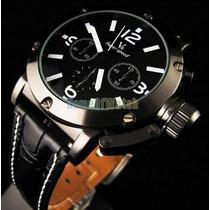 Relógio Pulso Militar Grande V6 Branco Preto Pulseira Couro