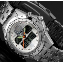 Relógio Sport Analógico Digital Led Aço Inoxidável Wm014 Ess