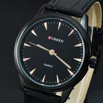 Relógio Luxo Elegante Curren Black Pulseira Couro Legítimo