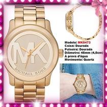 Relógio Michael Kors Mk5473 Gold Dourado 45mm Oversized Novo
