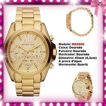 Relógio Michael Kors Mk5605 Gold Romano 43mm Oversized Novo