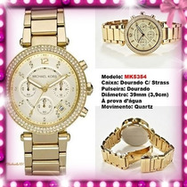 Relógio Michael Kors Mk5353 Gold Strass 39mm Midsized Novo !