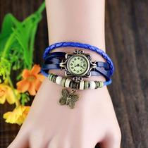 Relógio Pulseira De Couro, Com Pingente Vintage Feminino