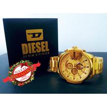 Relógio Diesel 10bar Dourado Pulseira De Aço Frete Grátis