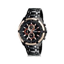 Relógio Curren Original Quartz Modelo Preto E Dourado