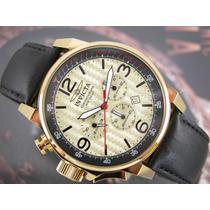 Relógio Invicta Cronógrafo Plaquê Ouro Pilot Aviador