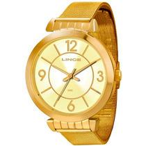 Relógio Lince Dourado Feminino (orient) Lrg4260l Prova Dágua