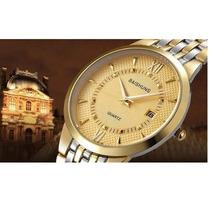 Relógio Feminino Dourado Aço Luxo C Calendário